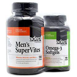 Adept Nutrition Men's Supervites/Omega-3 Softgels